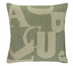 "Classic and Timeless Letters Green Hooked Pillow 16x16"" by 123 Creations"
