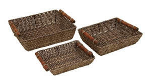 Classic Bali Metal N Wicker Hand Work Serving Tray Set - Set of 3 Brand Woodland