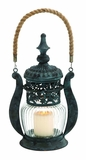 Classic Beijing Metal Glass Jute Lantern by Woodland Import