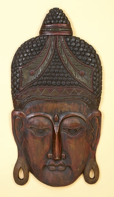 Classic Buddha Head Wall Decor Sculpture Crafted with Wood Brand Woodland