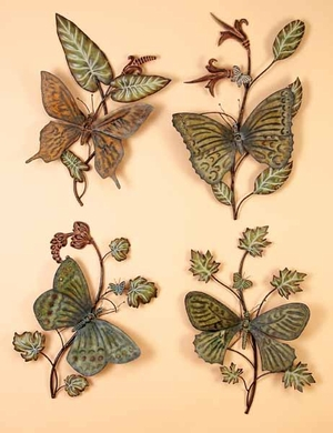 Classic Butterfly Rustic Metal Wall Decor Sculpture - Set of 4 Brand Woodland