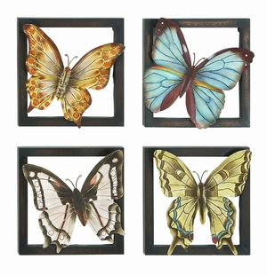 Classic Butterfly Squares Metal Wall Decor Sculpture - Set of 4 Brand Woodland
