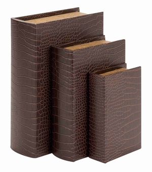 Classic Decorative Faux Leather Book Storage Box - Set of 3 Brand Woodland