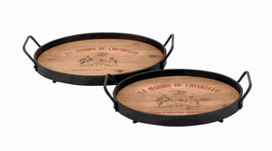 Classic Designed Wood Metal Tray with Metallic Rod (Set of 2) Brand Woodland