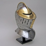 Classic European Knight Armor Helmet in Brass and Silver by IOTC