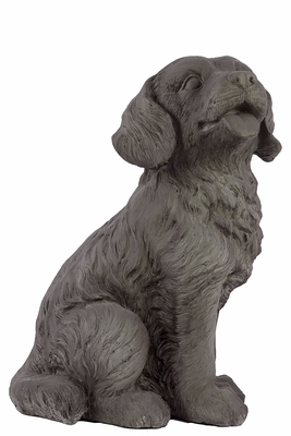 Classic Fiberstone Polystone Grey Colored Sweet Dog