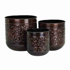 Classic Floral Decor Antiqued Metal Planters - Set of 3 Brand Woodland