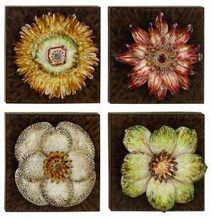 Classic Floral Metal Piece Wall Decor Sculpture - Set of 4 Brand Woodland