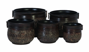 Classic Floral Pattern Fleur Garden Metal Planters - Set of 5 Brand Woodland