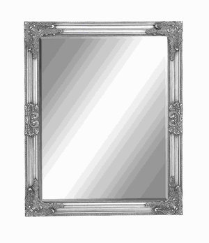 Classic Framed Beveled Mirror with a Rich Silver Finish Brand Woodland