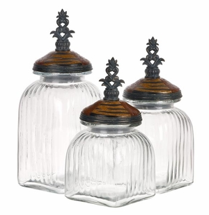 Classic Glass Canister with Rounded Neck Design -set of 3 Brand Woodland