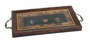Classic Hand Painted Fleur Crown Wood And Glass Serving Tray  by Benzara