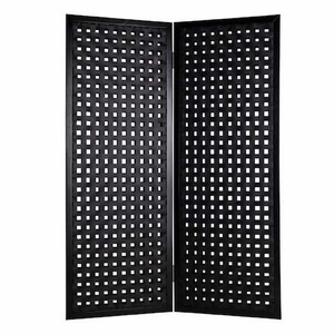 Classic Interwoven Leather Bellamy 2 Panel Screen in Black Brand Screen Gem