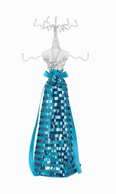Classic Jewelry Holder Decked Up in Gown with Silver Blue Sequin Brand Woodland
