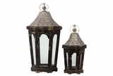 Classic Lamp Post Design Wooden Lantern Set of Two in Antique Black Finish