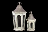 Classic Lamp Post Design Wooden Lantern Set of Two in Antique White Finish