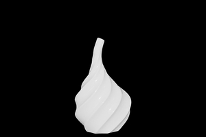Classic Massachusetts Carved Ceramic Vase White by Urban Trends Collection