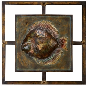 Classic Metal Art Uno Fish Nautical Wall Decor Sculpture Brand Woodland