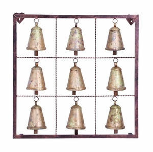Classic Metal Bell Square Wall Plaque with 9 Bells Brand Woodland