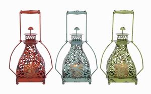 Classic Metal Candle Holder 3 Assorted with Vibrant Colors Brand Woodland