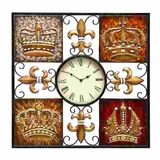 Classic Metal Fleur Di Lis n Crown Wall Clock Decor Sculpture Brand Woodland