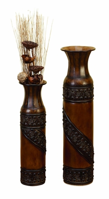 Classic Metal Flower Vase in Shabby Brown Finish - Set of 2 Brand Woodland