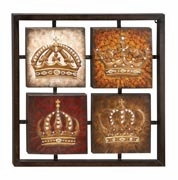 Classic Metal Four Crowns in Frame Wall Art Decor Sculpture Brand Woodland