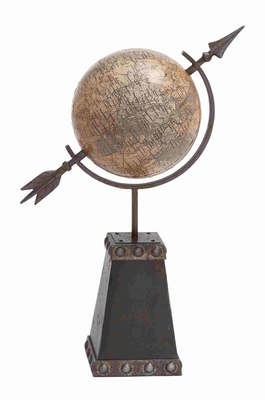 Classic Metal Globe D�cor with Elegant Antique Stand Brand Benzara