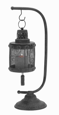 Classic Metal Lantern with Disserted Finish with Tall Holder Brand Woodland