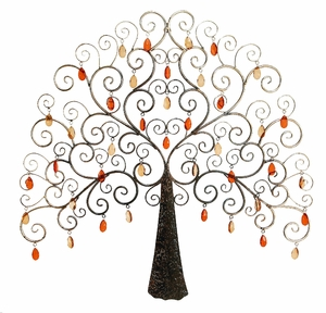 Classic Metal Nabi Crystal Tree Wall Art Decor Sculpture Brand Woodland