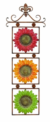 Classic Metal Sunflowers on Scroll Wall Art Decor Sculpture Brand Woodland