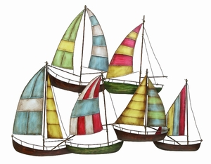 Classic Metal Tall Sailboats Nautical Decor Wall Sculpture Brand Woodland