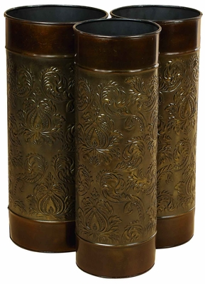 Classic Metal Umbrella Stand in Cylindrical Shaped - Set of 3 Brand Woodland
