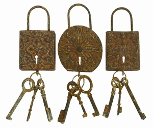 Metal Key Set Decor 3 Assorted To Keep The Keys Safe - 13906 by Benzara