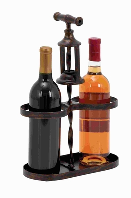 Classic Metal Wine Holder with Traditional Cork-Opener Accent Brand Woodland