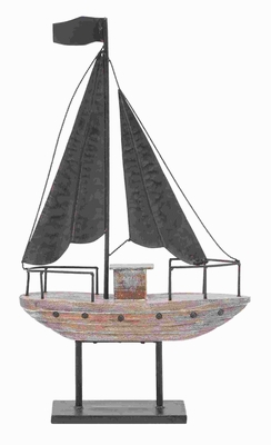 Classic Metal Wood Boat with Distressed Finished Metal accents Brand Woodland