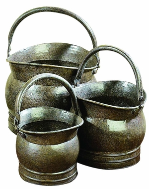 Classic Old Time Antiqued Metal Planters Shapes - Set of 3 Brand Woodland