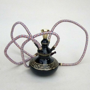 Classic Persian Style Hookah with Four Hoses in Black Finish by IOTC