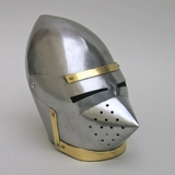 Classic Pig Face Armor Helmet Showpiece in Silver and Brass by IOTC