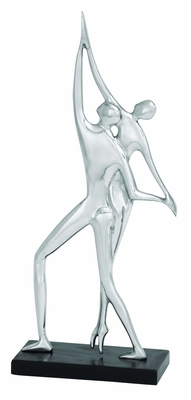 Classic Sculpture Aluminum Dancing Couple with Silver Finish Brand Woodland