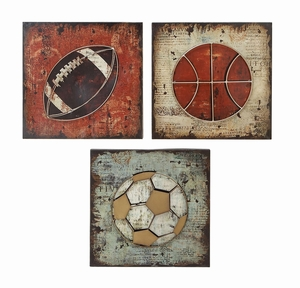 Classic Sports Wall Decor - Football Basketball Soccer - Set of 3 Brand Woodland