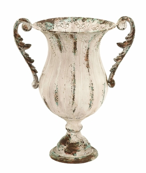Classic Style Metal Vase with Curved Handles and Rusty Look Brand Woodland
