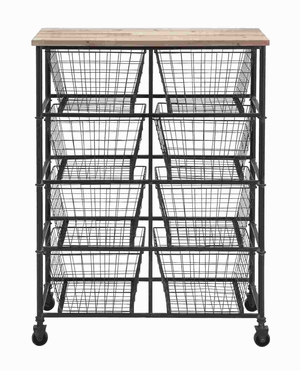 Metal Wood Storage Mobile Cart with - 50205 by Benzara