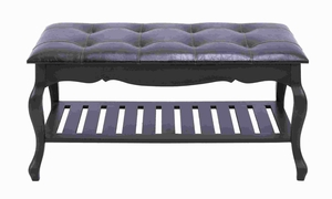 Classic Style Wood Leather Bench with Traditional Design Brand Woodland