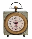 Classic Styled Customary Metal Table Clock by Woodland Import