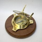 Classic Sun Dial and Compass with Wood Base by IOTC