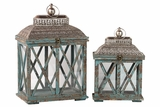 Classic & Traditional Wooden Lantern Set of Two in Antique Blue Finish w/ Crossed Wooden Panel Design