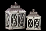 Classic & Traditional Wooden Lantern Set of Two in Antique White Finish w/ Crossed Wooden Panel Design
