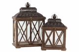 Classic & Traditional Wooden Lantern Set of Two in Rustic Antique Finish w/ Crossed Wooden Panel Design