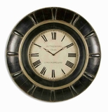 Classic Wall Clock With Black and Gray Glaze And Gold Accents Brand Uttermost